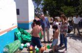 Cnel Rosales / Uset recorrió obras y entregó material deportivo en la colonia