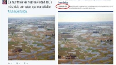 Otra vez lo mismo: Diputada tuiteó #JunínSeInunda con foto de Azul de 2012
