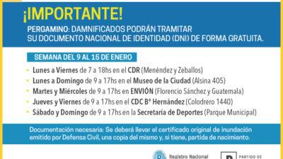 Pergamino / El RENAPER les llevará el DNI de forma gratuita a todas las personas afectadas por las inundaciones