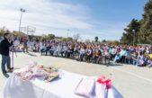 Guamíni / Ante un centenar de chicos, Alvarez inauguró un nuevo playón deportivo en la localidad de Laguna Alsina