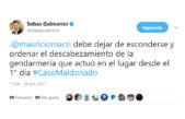 """#CasoMaldonado / Galmarini contra Macri, le pidió que """"no se esconda"""" y que ordene el descabezamiento de gendarmería"""