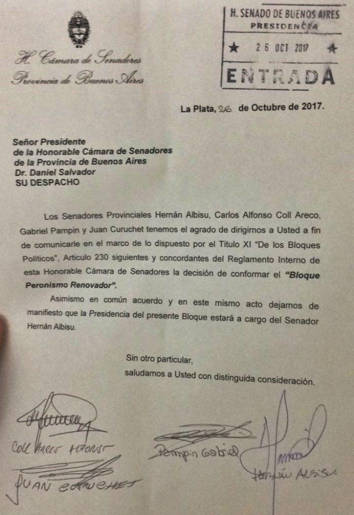 """Nota presentada por el nuevo bloque de senadores """"Peronismo Renovador"""""""