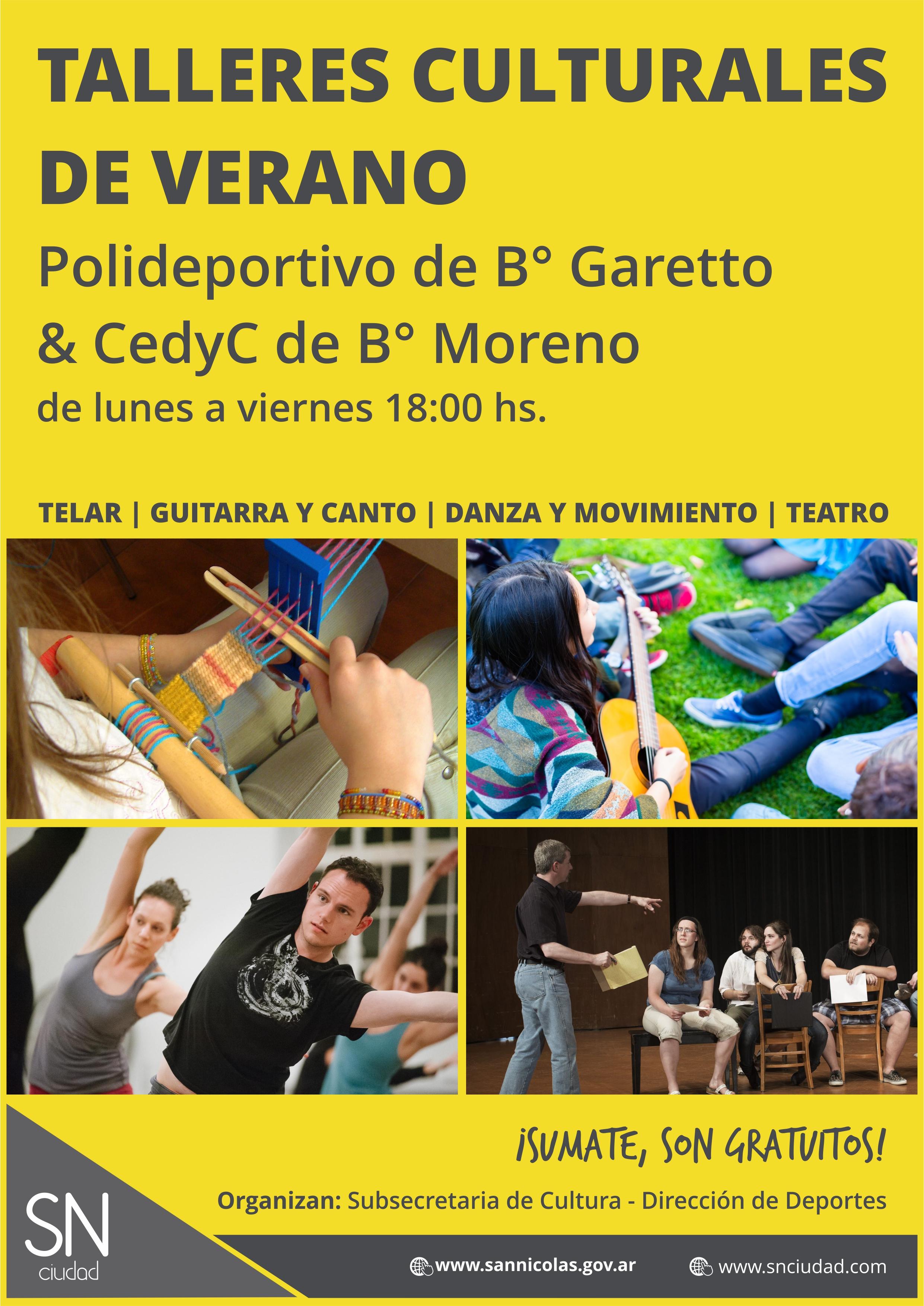 Continúan los talleres culturales gratuitos en San Nicolás