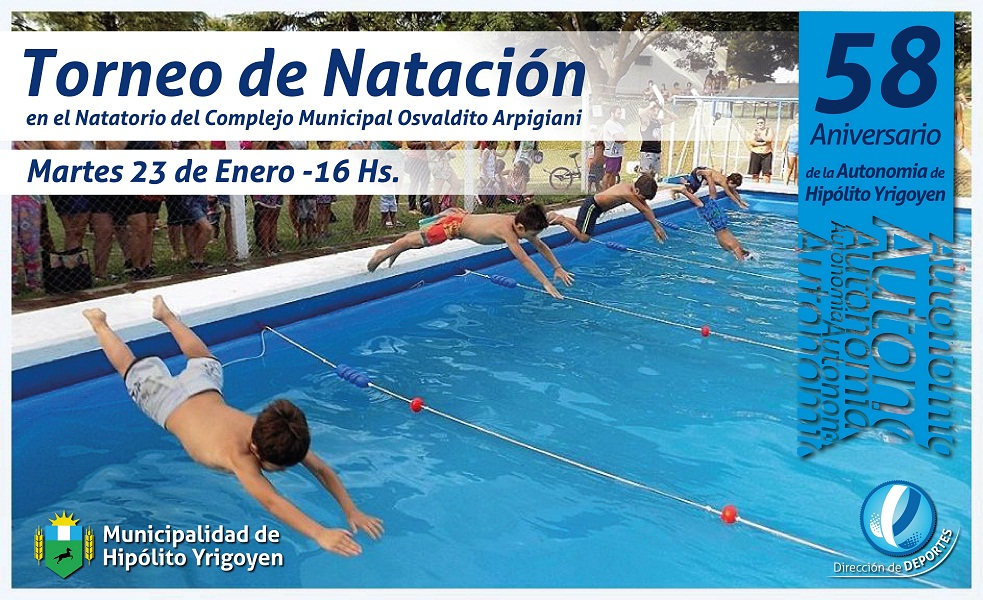 Se realizará un torneo de natación en Hipólito Yrigoyen festejando sus 58 años