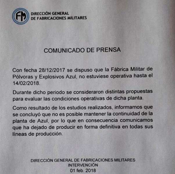 Con un comunicado de tres párrafos, Fabricaciones Militares confirmó el cierre definitivo de FANAZUL