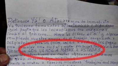 Amenazan de muerte a trabajadores de una obra hidráulica en La Plata