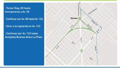 La Plata / Informan nuevos cortes y desvíos por el avance de la obra en la rotonda de 120 y 32
