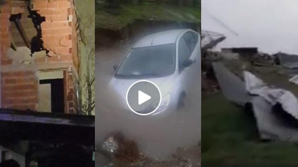 VIDEOS: Un rayo atravesó una casa en Pinamar / Destrozos en Roque Pérez / Las calles fueron ríos en Mar de Ajó