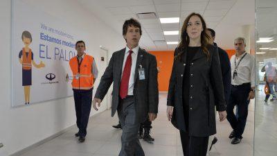 Vidal visitó la nueva terminal de vuelos internacionales del aeropuerto de El Palomar