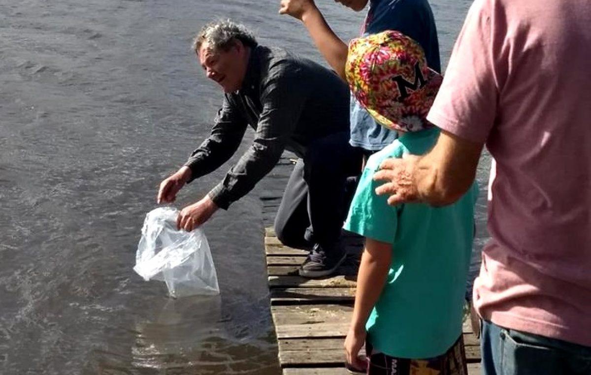 Sembraron 20 mil huevos y 80 mil alevinos de pejerrey en el Lago de Tandil