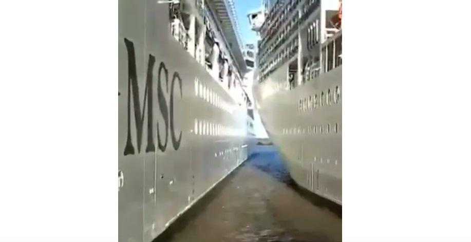 Mirá el choque de dos cruceros MSC al momento de zarpar en Buenos Aires