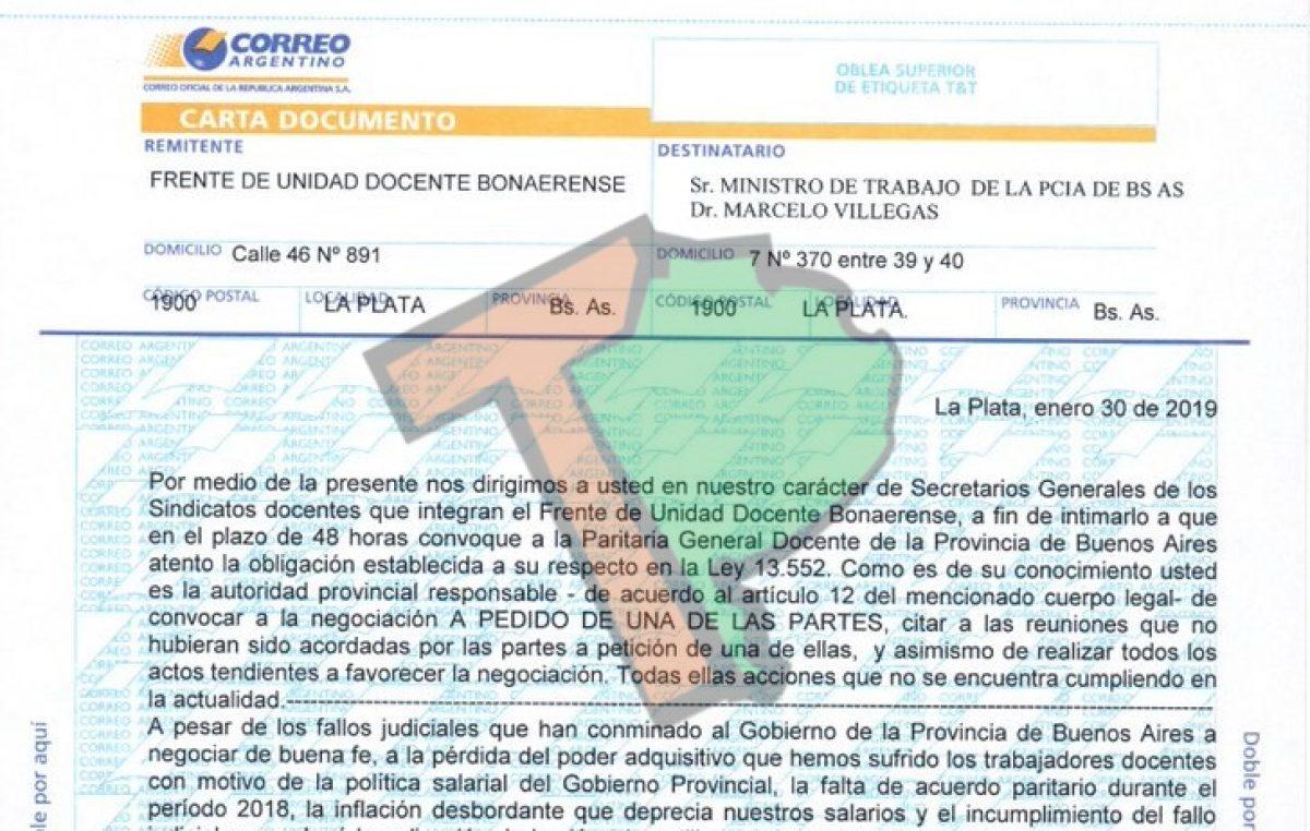 Los gremios docentes intimaron al gobierno a convocar a paritarias mediante carta documento