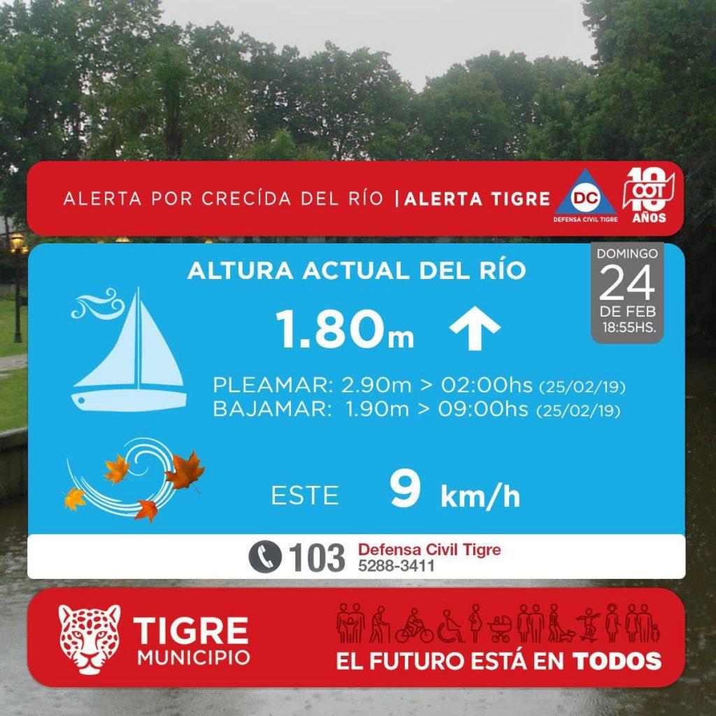 En Tigre hay alerta sobre una posible crecida del Río de La Plata