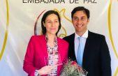 La embajadora de la Unión Europea, Aude Maio-Coliche visitó a la Voz por la Paz en el mundo, Odino Faccia, para fortalecer el valor de la paz mundial