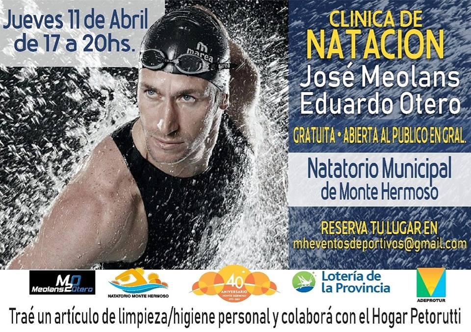 José Meolans brindará una clínica de natación este jueves 11 en Monte Hermoso