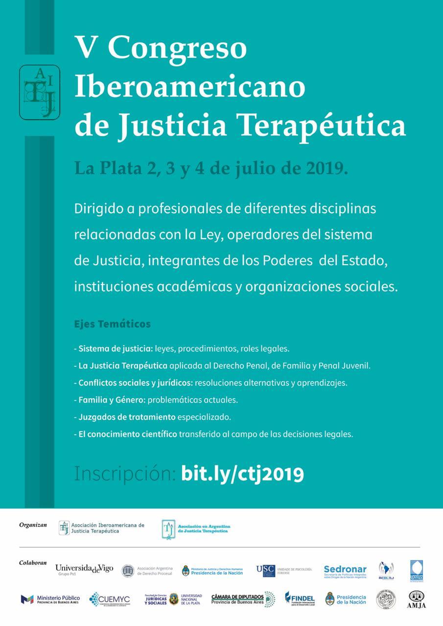 Se realizará el V Congreso Iberoamericano de justicia terapéutica en La Plata