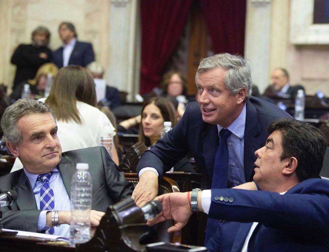 Emilio Monzó, Agustín Rossi y Fernando Espinoza en el Congreso Nacional