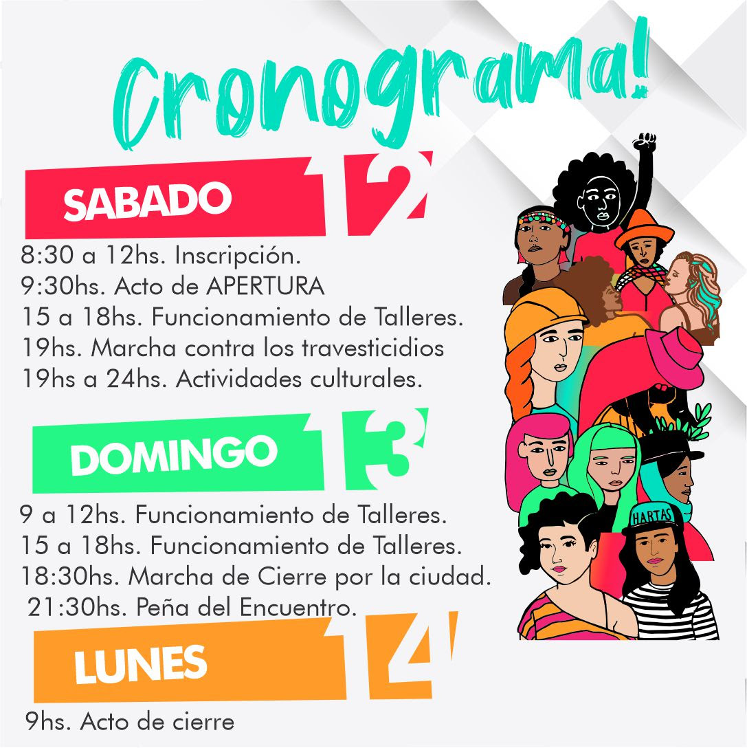 El 34º Encuentro Nacional de Mujeres que se realizará el 12, 13 y 14 de Octubre en La Plata ya tiene cronograma oficial ¡Conocelo!