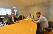 E Echeverria / Fernando Gray y ministro de Infraestructura, Agustín Simone analizan obras prioritarias para el distrito