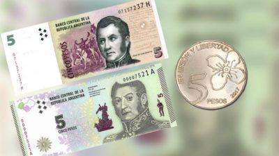 Últimas horas de validez para el billete de 5 pesos: qué hacer con los que quedan