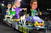 La carroza de Kicillof en el Clio y Vidal en helicóptero quedó segunda en el Carnaval de Lincoln