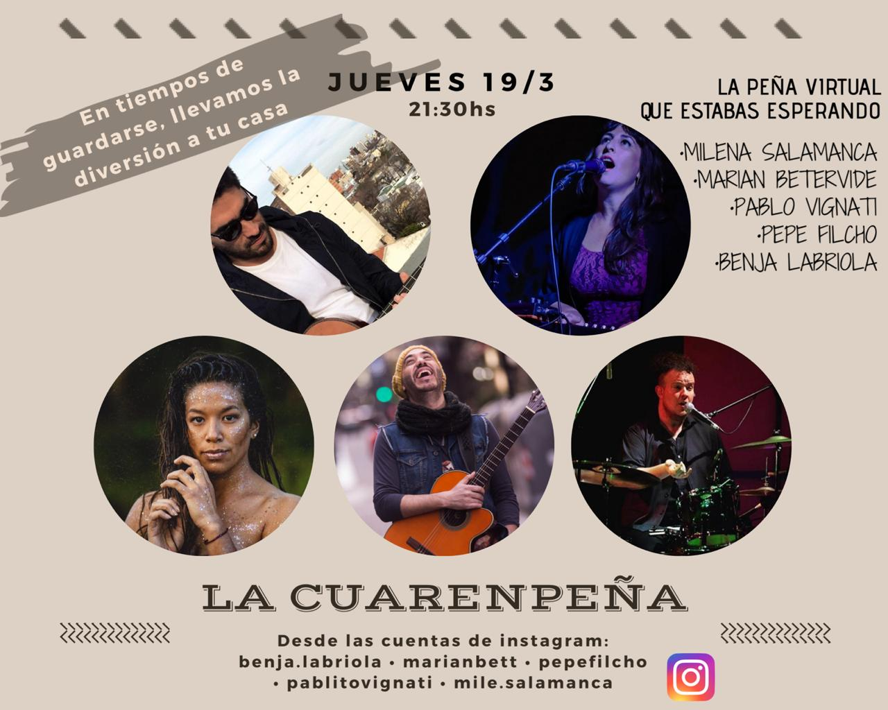 """En plena cuarentena nace la """"CuarenPeña"""" para llevar música y un poco de alegría a través de las redes sociales"""