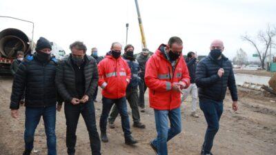 Katopodis, Arrieta e Insaurralde recorrieron la obra del bajo viaducto La Noria detenida en 2017