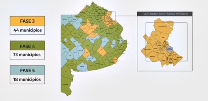 En qué fase está tu ciudad: así continúa la cuarentena en los 135 municipios bonaerenses