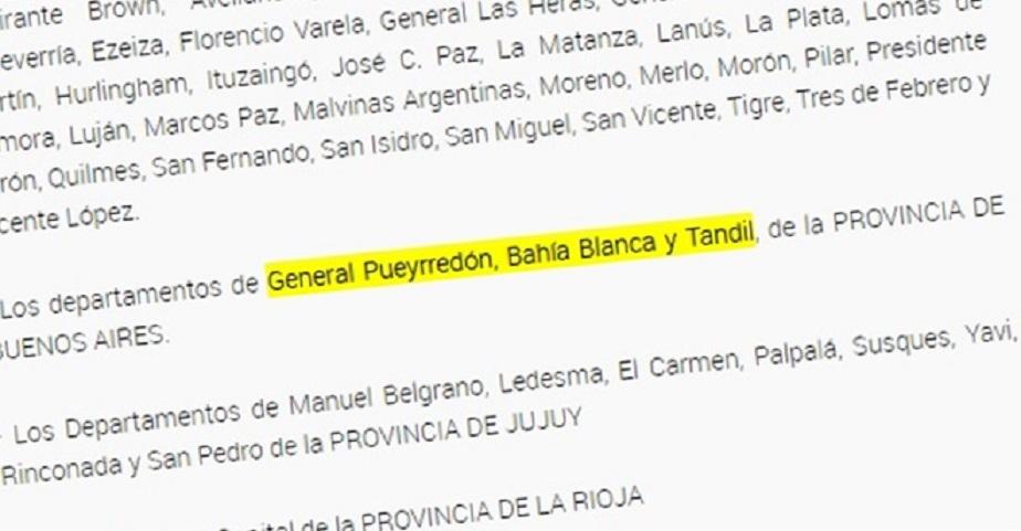 """Nación declaró a Tandil y Bahía Blanca como zonas con """"transmisión comunitaria sostenida"""" de Covid-19"""