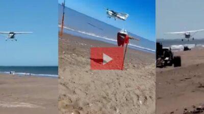 Conductor de avioneta se burla de pescadores: voló tan bajo sobre la playa que rompió cañas y cortó líneas