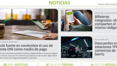 """""""Noticias del Banco Provincia"""", la entidad financiera ahora tiene un portal informativo propio"""