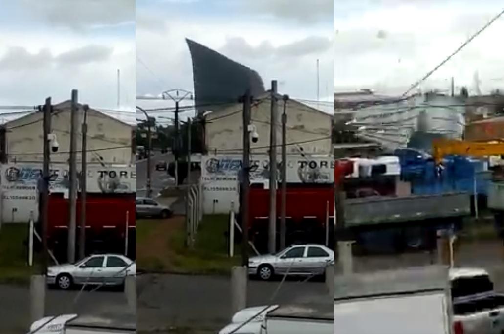 Video: en Olavarría el viento le arrancó un techo de chapa como si fuera de papel