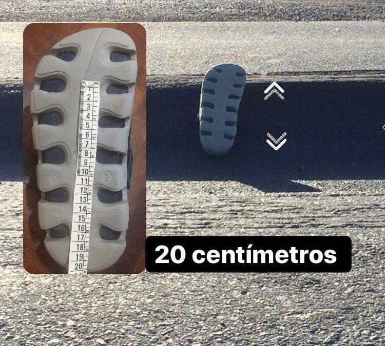 """""""Trampa Mortal"""": El estado de la Ruta Provincial Nº50 expuesta por una zapatilla"""
