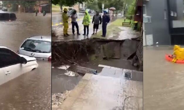 Imágenes impresionantes: un temporal azota a Pinamar, hay autos bajo el agua y hasta un derrumbe