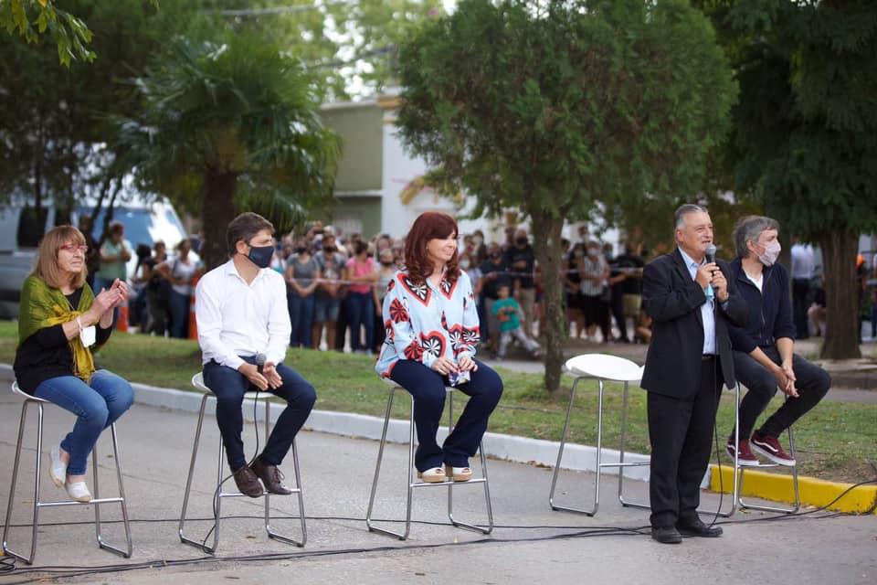 Cristina, Kicillof y Gelene en Las Flores