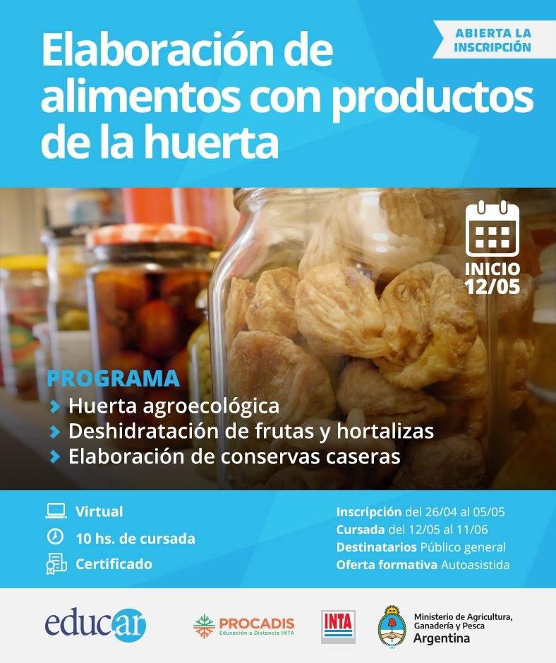 Se viene un nuevo curso del INTA sobre elaboración de alimentos con productos de la huerta