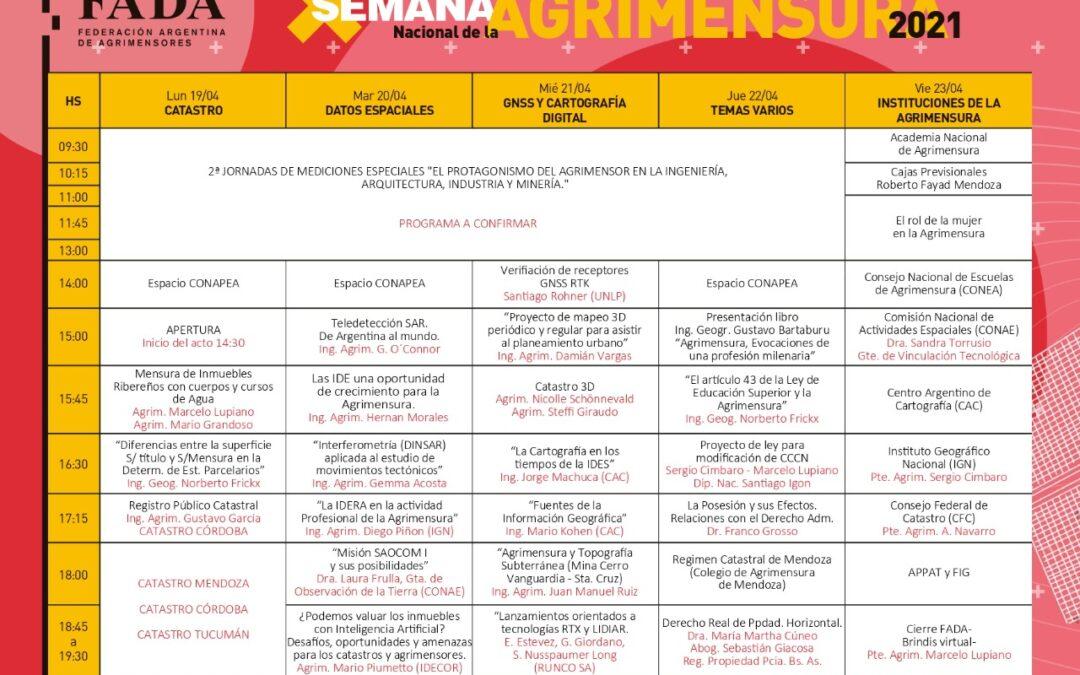 Exposiciones, debates y ponencias en la semana nacional de la Agrimensura 2021