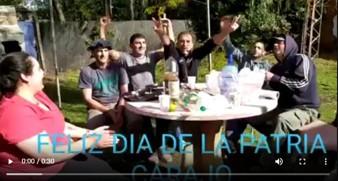 En plena cuarentena, un funcionario municipal de 25 de Mayo se filmó en un asado cantando la Marcha Peronista