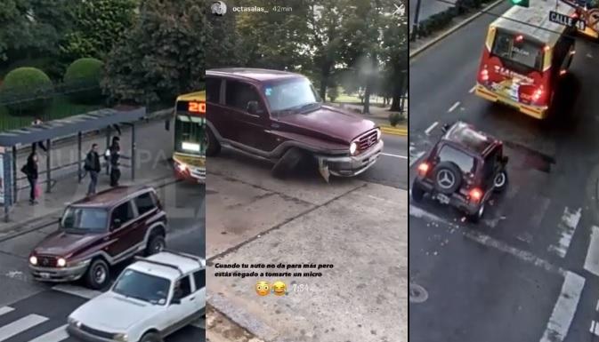 Está loco: chocó y se dio a la fuga con una rueda menos por el centro de La Plata