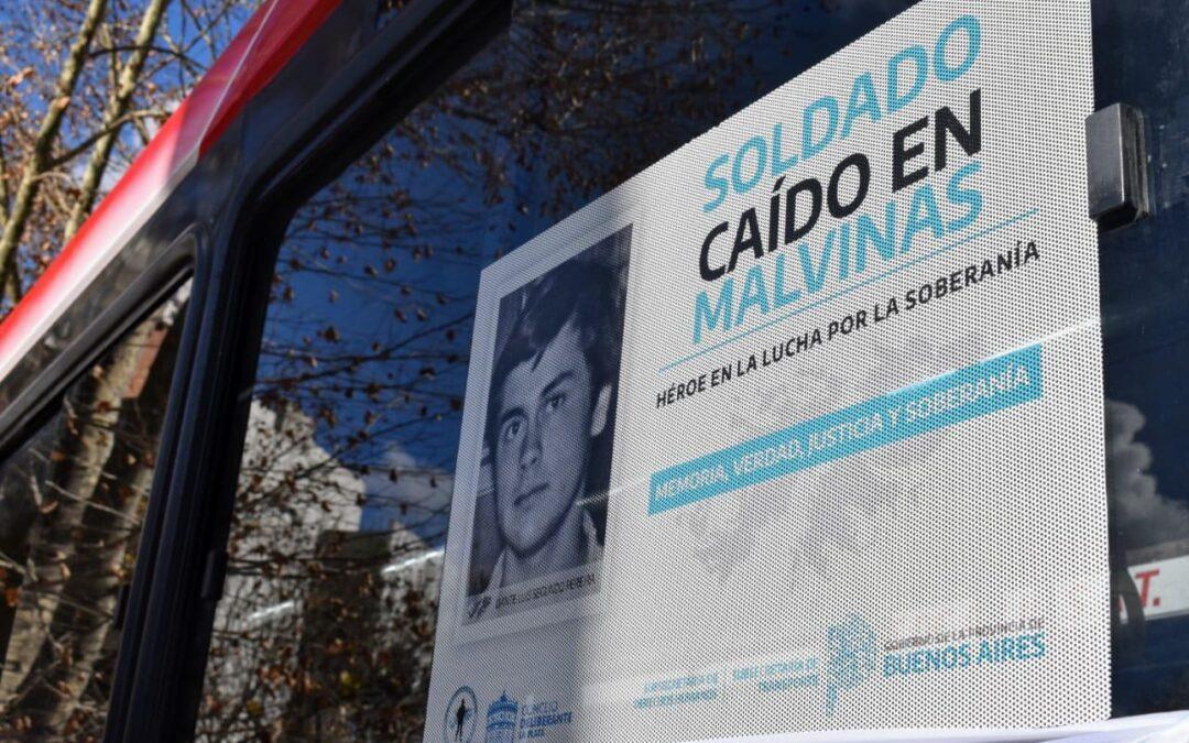 """350 unidades de transporte público de pasajeros de La Plata llevarán """"Rostros de Malvinas"""""""