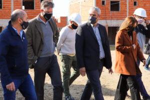 En compañía de los intendentes locales, Fabián Cagliardi y Mario Secco.