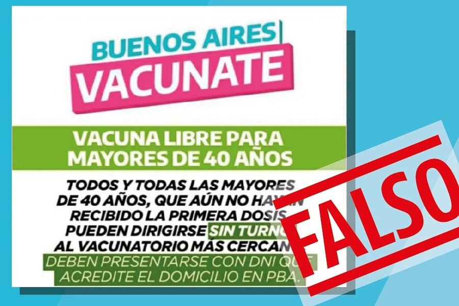 El Gobierno bonaerense advirtió sobre una noticia falsa que convocaba a vacunarse