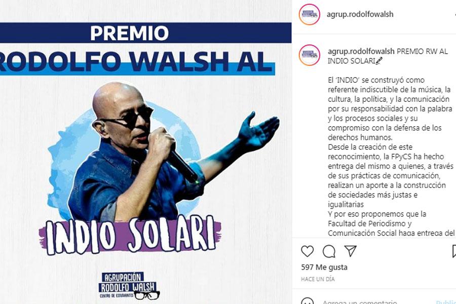 "Premio Rodolfo Walsh al ""Indio"" Solari"