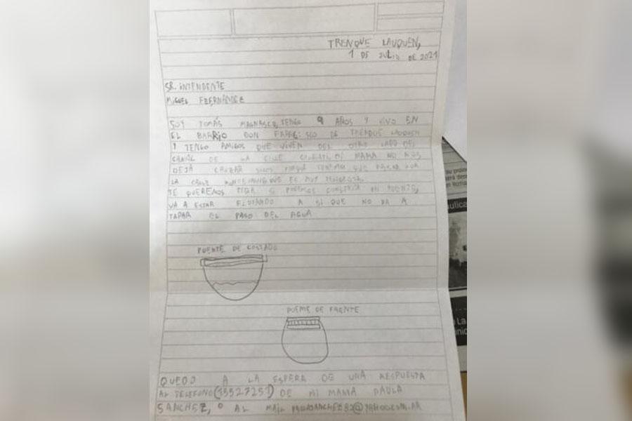 La carta de Tomás al Intendente de Tranque Lauquen.