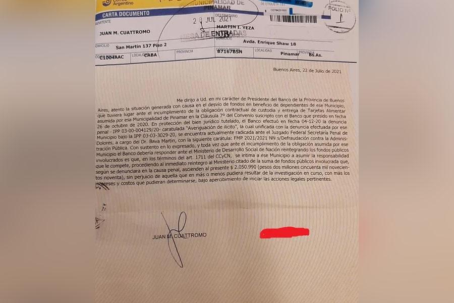 """Banco Provincia intimó a Yeza a devolver de """"inmediato"""" los $ 2 millones que fueron desviados"""