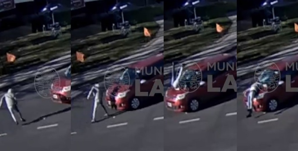 Video viral: un peatón de La Plata enloqueció y se arrojó sobre el parabrisas de un auto en marcha