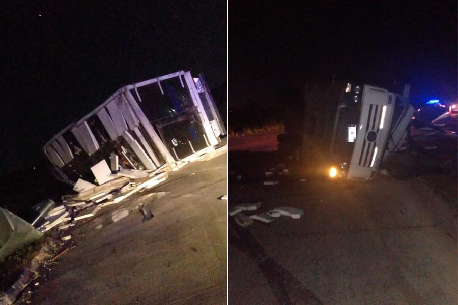 En menos de 24 horas, se produjo otro accidente sobre la Ruta 215: volcó un camión lleno de carne